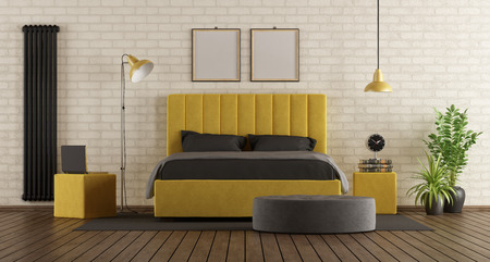 Black and yellow master bedroom with double bed against brick wall - 3d rendering Banque d'images - 116480789