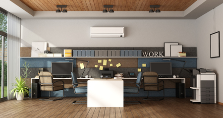 Modern office with four workstation - 3d rendering