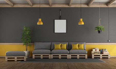 Gray and yellow living room with pallet sofa,footstool and coffee table - 3d rendering Фото со стока