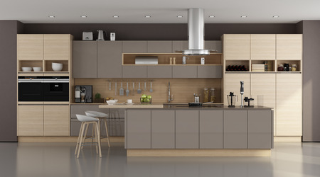 Wooden and brown modern kitchen with island - 3d rendering Фото со стока