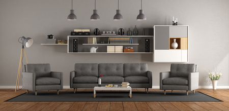 Modern living room with gray sofa ,armchair and bookcase on wall - 3d rendering Фото со стока