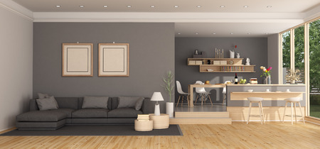 Moder living room with black sofa and wooden dining table - 3d rendering
