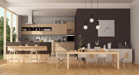 Modern wooden kitchen with island and dining table - 3d rendering Фото со стока