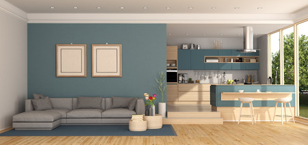 Blue living room with gray sofa and modern kitchen on background - 3d rendering