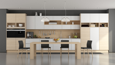 Wooden and white modern kitchen with dining table - 3d rendering