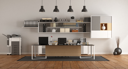 Modern office with large desk,bookcase and photocopier - 3d rendering Фото со стока
