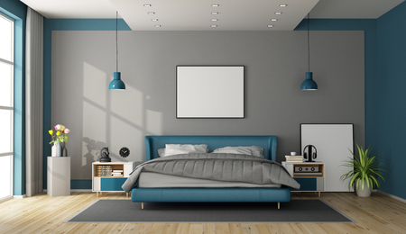 Blue and gray master bedroom with modern furniture - 3d rendering Фото со стока