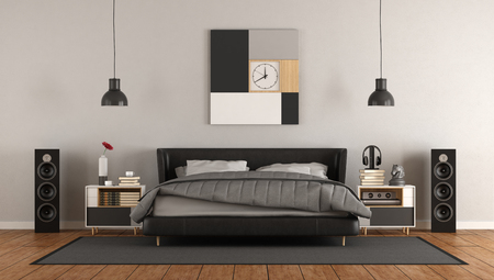 Modern mastern bedroom with black double bed - 3d rendering