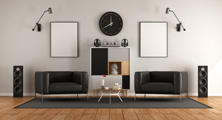 living room with two black armchairs , audio equipment and sideboard - 3d rendering