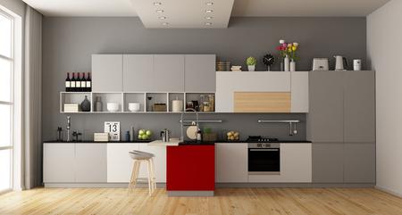 Graue und weiße moderne Küche mit roter Insel - 3D-Rendering