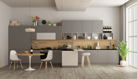 Modern kitchen with round dining table and island - 3d rendering