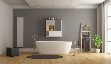 Minimalist white and gray bathroom with bathtub - 3d rendering Фото со стока