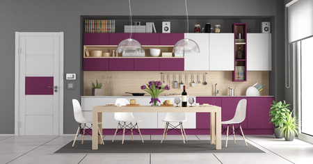 Modern white and purple kitchen with wooden dining table - 3d rendering
