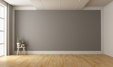 Empty minimalist room with gray wall on background and plant on wooden stool - 3d rendering Banque d'images - 117357627