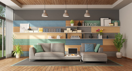 Colorful living room of a modern villa with fabric sofa and wooden paneling on background - 3d rendering Banque d'images - 117357629
