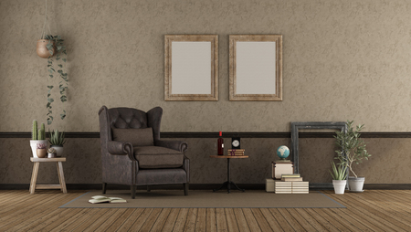 Retro living room with leather armchair, coffee table and plants - 3d rendering