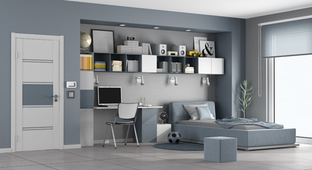 Blue and gray teen room with single bed,desk and bookcase - 3d rendering Banque d'images - 117357631
