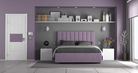 Purple and gray master bedroom with double bed,nightstands and closed door - 3d rendering Stockfoto