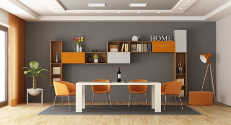 Modern dining room with table,chairs and bookcase on background - 3d rendering