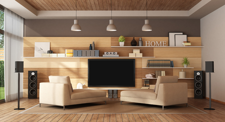 Large living room with home cinema system - 3d rendering Banque d'images - 117357639