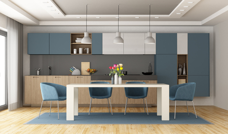 White and blue modern kitchen with diningtable - 3d rendering Banque d'images - 117357642