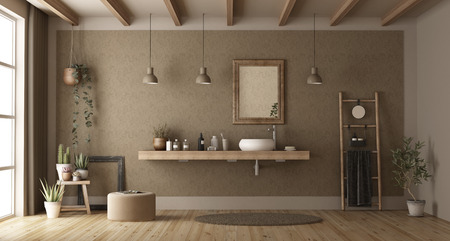 Elegant bathroom with washbasin on wooden shelf - 3d rendering Imagens