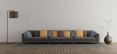 Minimalist living room with large sofa with colorful cushion - 3d rendering Banque d'images - 117603357