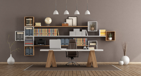 Modern office with wooden bookcase and desk - 3d rendering Banque d'images - 117603262