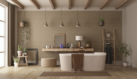 Vintage bathroom with modern bathtub and retro decor objects - 3d rendering Banque d'images - 117603468