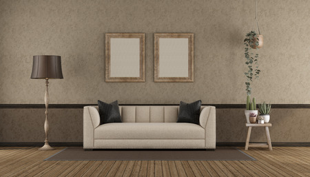 Retro interio with classic sofa against stucco wall - 3d rendering