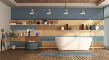 Modern bathroom with bathub and wooden paneling - 3d rendering Banque d'images - 117603362