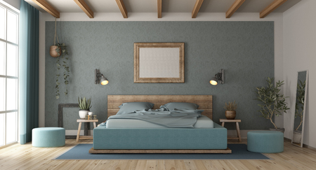 Blue master bedroom in retro style with wooden double bed - 3d rendering