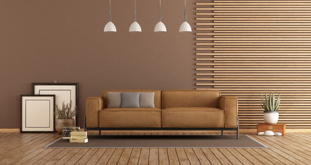 Modern Living room with leather sofa , wooden paneling and brown wall - 3d rendering Banque d'images - 117603269