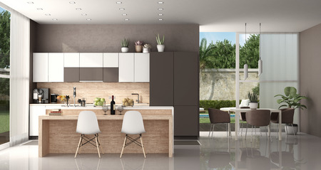 Modern kitchen of a modern villa with island and dining table with chairs - 3d rendering Banque d'images - 118543967