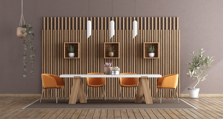 Modern dining room with table and chairs against wooden paneling - 3d rendering