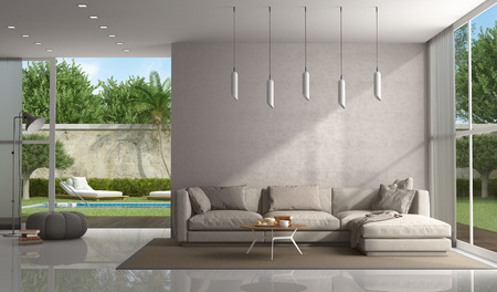 Brown living room of a modern villa with pool on background - 3d rendering Banque d'images - 118543971