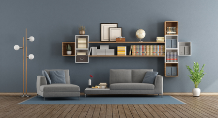 Blue modern living room with sofa, chaise lounge and bookcase - 3d rendering Banque d'images - 118543972