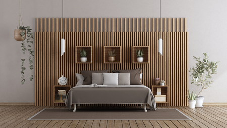 Modern bedroom with double bed against wooden paneling - 3d rendering Banque d'images - 118543973