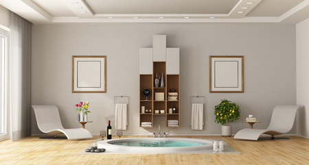 Luxury bathroom with built-in round bathtub, chaise lounges and cabinet on wall - 3d renderimg Imagens