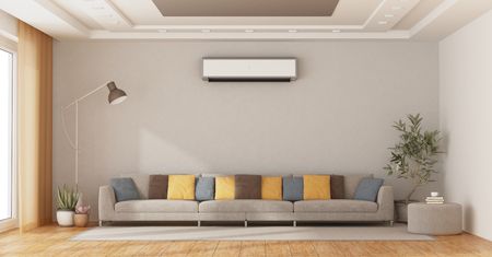 Modern living room with coloful sofa and air conditioner on wall - 3d rendering Imagens