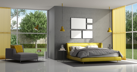 Gray and yellow master bedroom of a modern villa - 3d rendering