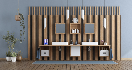 Bathroom with double washbasin against wooden paneling - 3d rendering Imagens