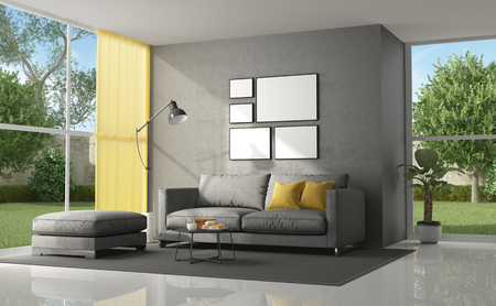 Living room of a modern villa with gray sofa with yellow cushion - 3d rendering Banque d'images - 118543979