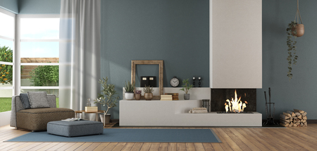 Blue modern living room with fireplace and chaise lounge - 3d rendering