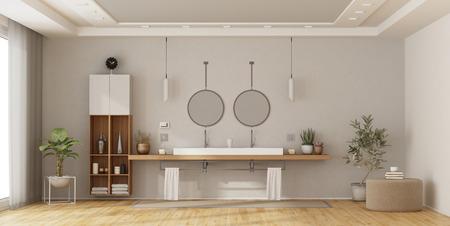 Minimalist bathroom with double washbasin on wooden shelf - 3d rendering Imagens