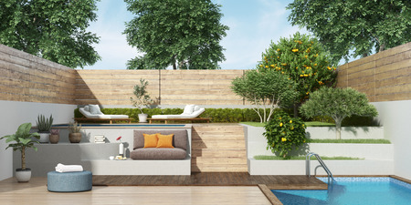 garden on two levels with two small pools and lush vegetation - 3d rendering