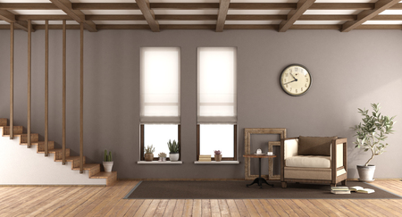Brown living room in retro style with wooden stairscase,two windows and armchair - 3d rendering Imagens