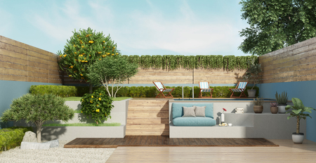Garden on two levels with a small pool and lush vegetation - 3d rendering Banque d'images - 121499198