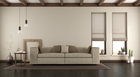 Elegant living room with sofa, two vertical windows and wooden beams on ceiling - 3d rendering Banque d'images - 121499200