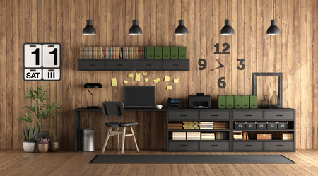 Home office in rustic style with black furniture against wooden wall - 3d rendering Imagens